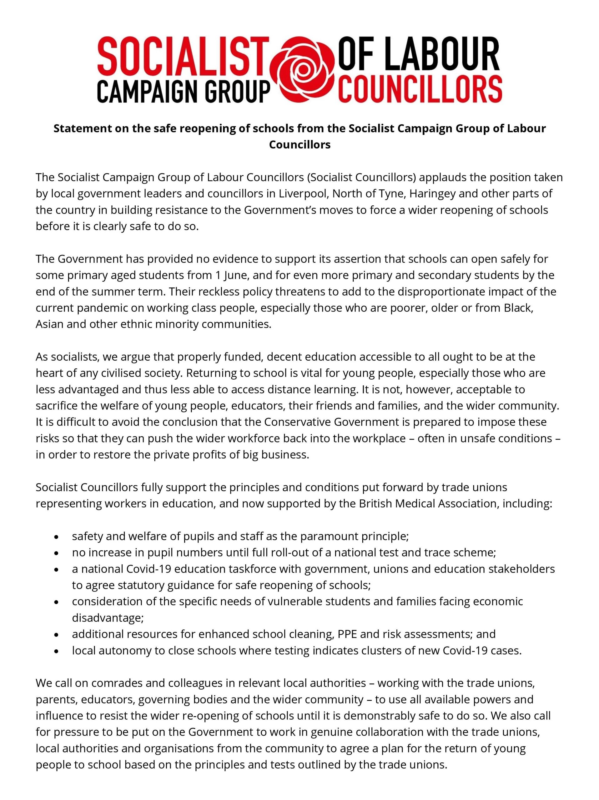 20200515 Statement on the safe reopening of schools (Socialist Councillors) CORRECTED