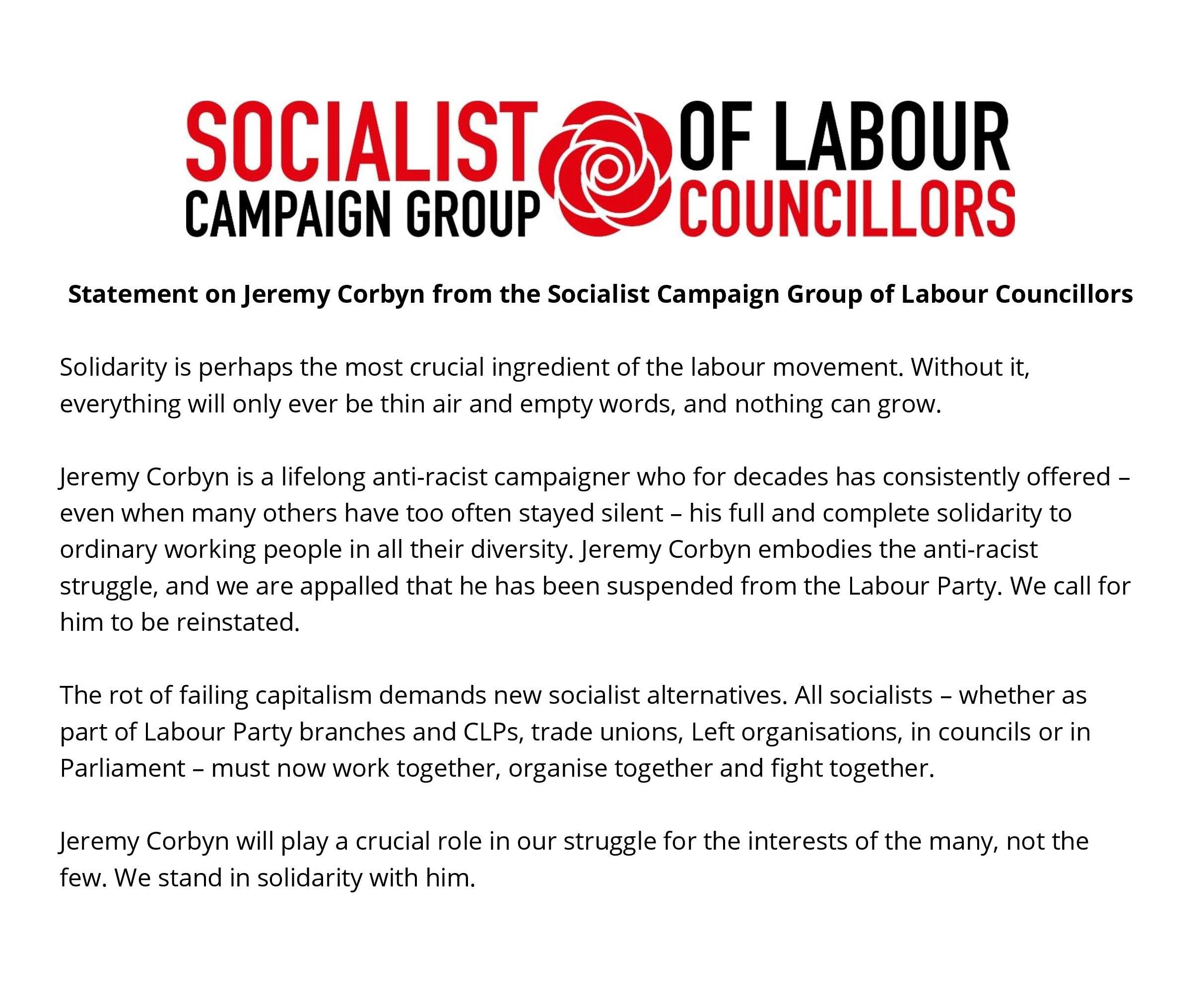 Statement on Jeremy Corbyn