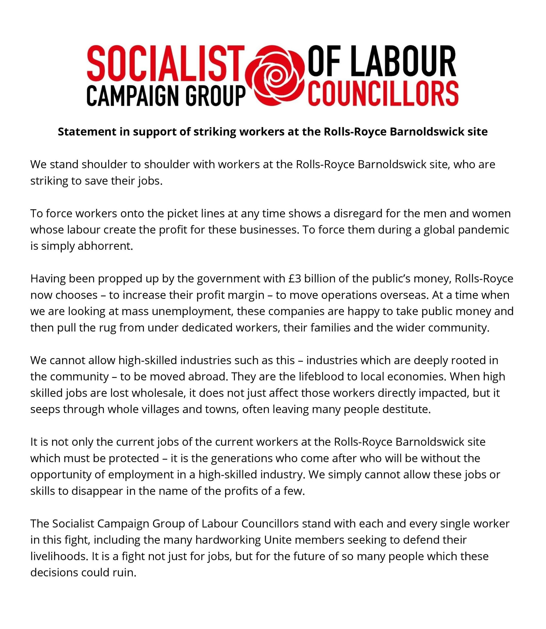 Statement in support of striking workers at the Rolls-Royce Barnoldswick