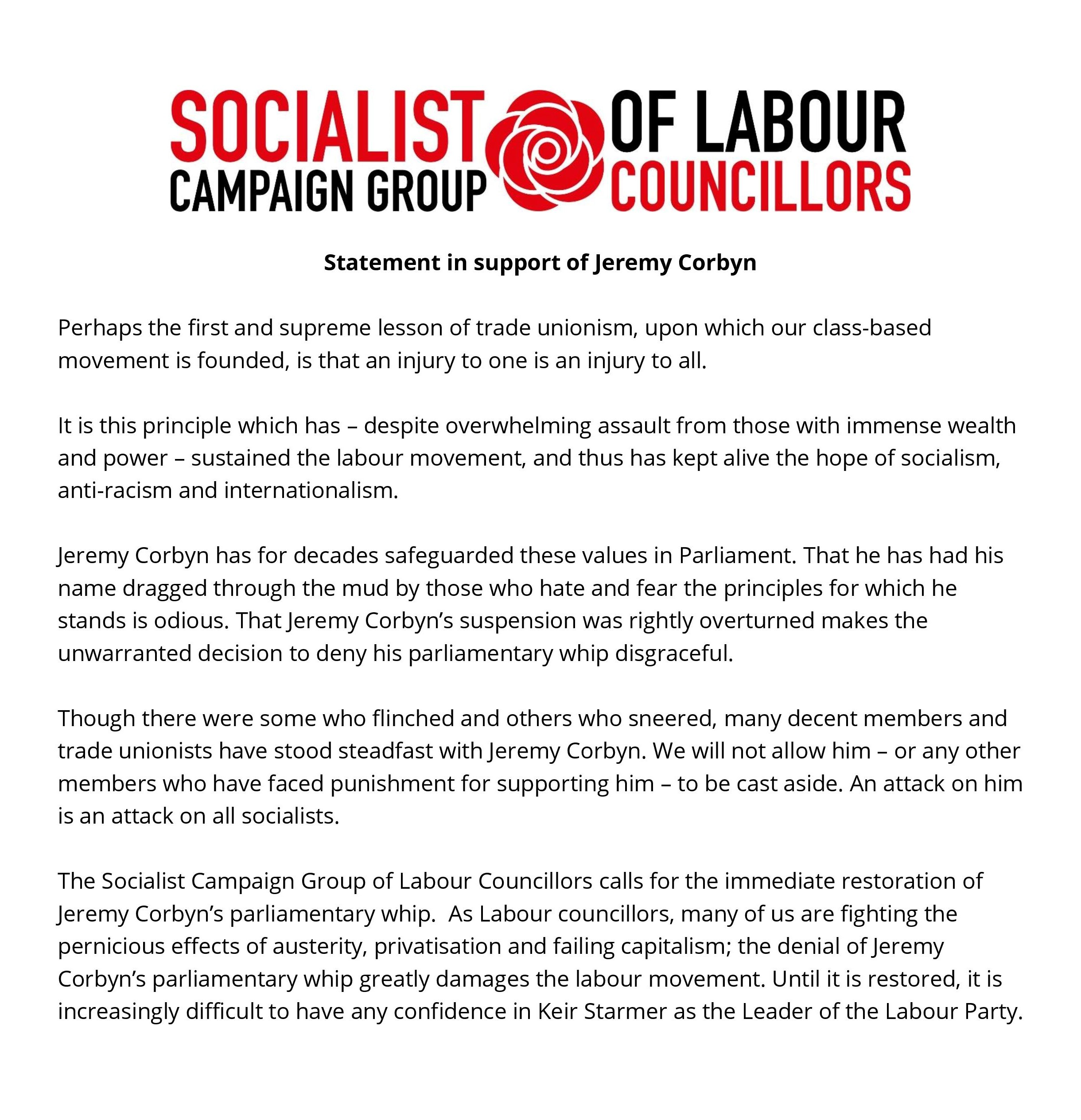 Statement in support of Jeremy Corbyn